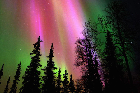 The aurora borealis often occur in northern countries such as Finland.