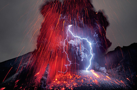 A volcanic eruption AND a lightning bolt? That seems a bit much!