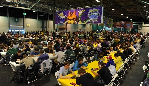Thousands of people battle it out in live Pokémon tournaments.