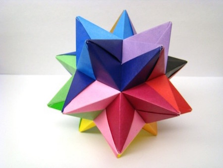 This multi-colored design is a piece of modern origami.