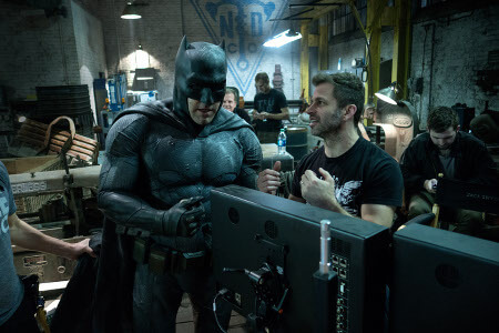 Ben as Batman with Director Zack Snyder