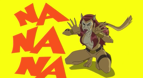 Cheetah taunts The Flash in an episode of Batman Unlimited.