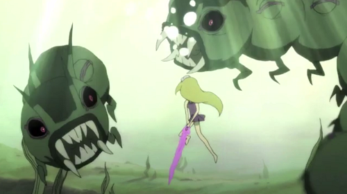 The future princess battles a sea serpent.
