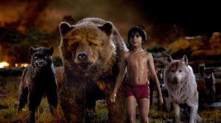 Mowgli with his animal friends