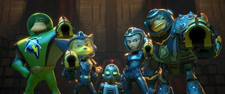 Captain Qwark, Ratchet, Clank, Cora, and Brax