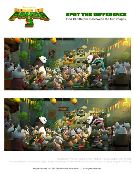 Kung Fu Panda 3 Spot The Difference