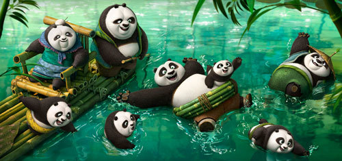 Po frolicking in the panda village hot spring