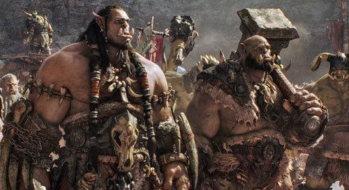 Orgrim with clan head Durotan (Toby Kebbell)