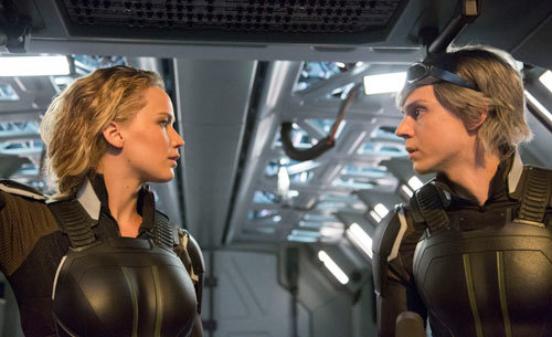 Jennifer Lawrence as Raven / Mystique and Evan Peters as Peter / Quicksilver