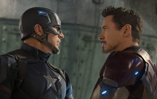 Captain America and Iron Man square off