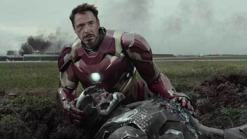 Iron Man helps the fallen War Machine