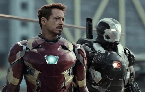 Tony (Iron Man) stands tall with War Machine by his side