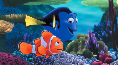 Dory with Nemo's dad Marlin