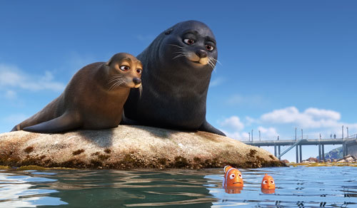 Sea lions Rudder and Fluke with Nemo and Marlin