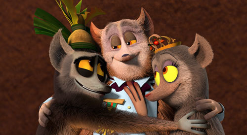 King Julien gives a lemur hug to his longlost parents, Princess Julienne, and Prince Barty
