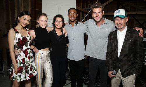 Jessie with the cast and director Roland Emmerich