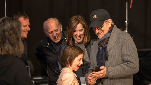 Ruby, Spielberg, Kathleen Kennedy and producers share a cellphone laugh