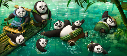 Po swims with new panda pals