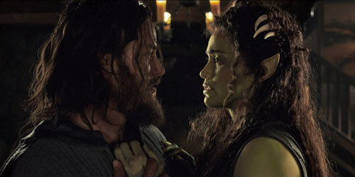 Lothar (Travis Fimmel) declares love for Garona (Paula Patton)