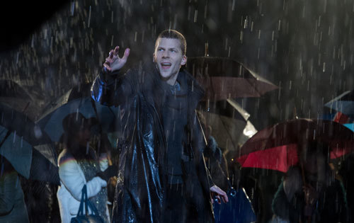 Jesse Eisenberg as Atlas making rain magic