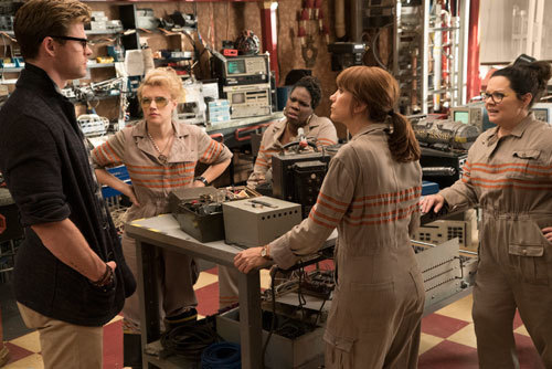 Ghostbusters (Melissa far right) meet their new secretary (Chris)