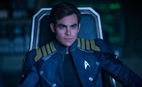Chris as Kirk on the bridge