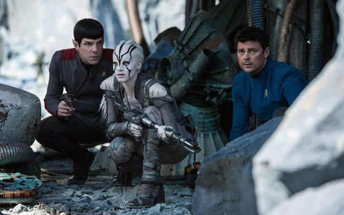 Spock and McCoy with alien Jaylah