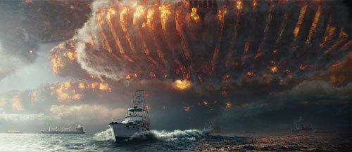 An alien ship wreaks havoc in the skies above a fleeing ship