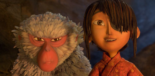 Kubo, with Monkey, is fascinated by strange creatures