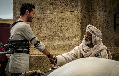 Jack Huston plays Judah Ben-Hur and Morgan Freeman plays Ilderim