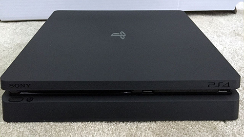 A leaked image of the new slimmer PlayStation 4.
