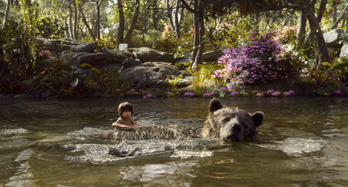 Mowgli and Baloo floating down the river