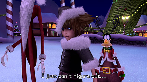 The adventure to Christmas Town changes up our hero's costume.