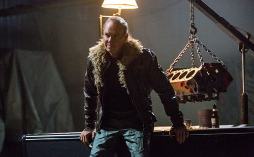 Toomes (Michael Keaton) in his salvage HQ