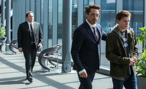 Tony Stark (Robert Downey Jr.) instructs Peter Parker (Tom Holland)
