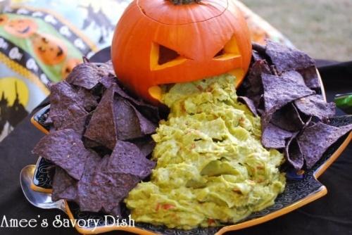 Pumpkin guacamole guts