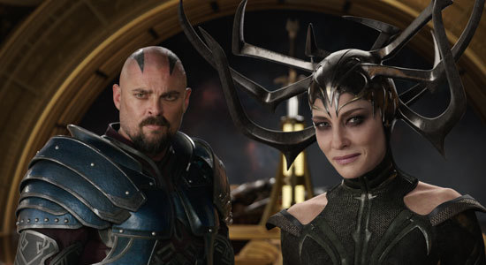 The evil Hela (Cate Blanchett) with her right-hand-man Skurge