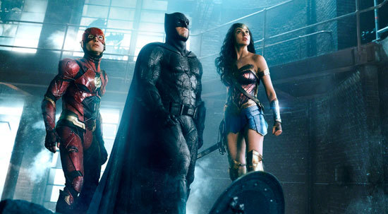 Batman (Ben Affleck) with The Flash and Wonder Woman