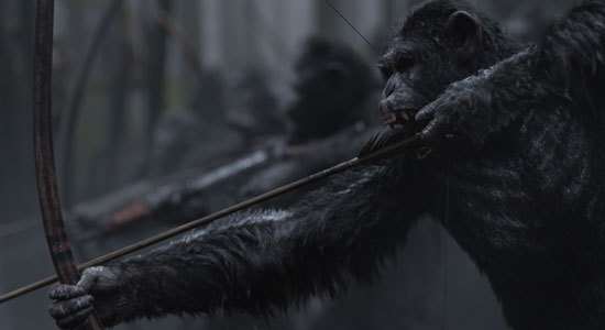 Apes use old and new weaponry in the war
