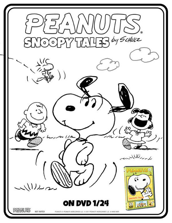 Peanuts by Schulz: Snoopy Tales Coloring Sheet