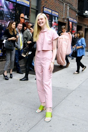 Elle Fanning wearing one of her many daytime pajama ensembles