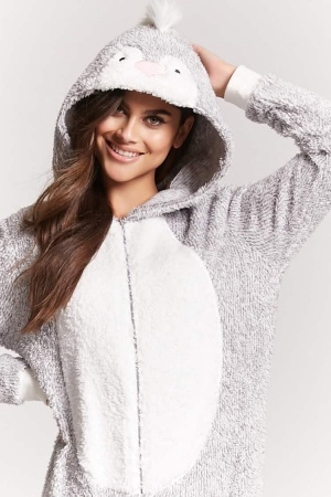 Forever 21's plush knit pajama onesie wraps you in penguin perfect comfort all day long.