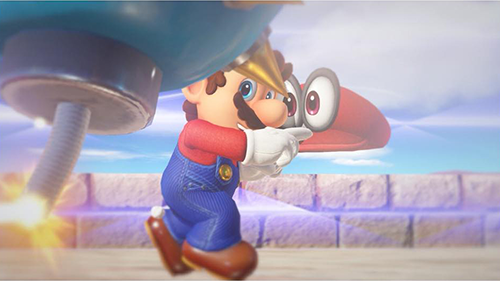 Mario takes aim with Cappy.