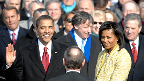 Barack Obama taking the Oath of Office in 2008.