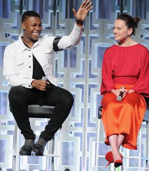 John Boyega and Daisy Ridley talk to press