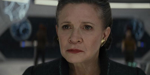 Carrie Fisher as a sad General Leia