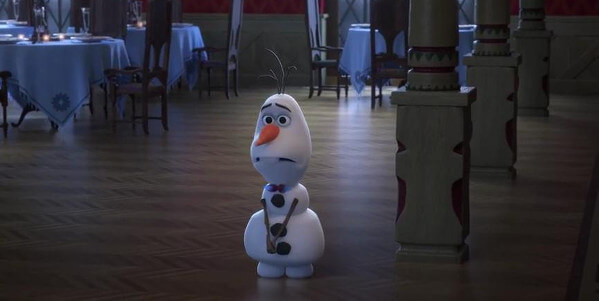 Olaf is sad that the locals didn't come to the palace party