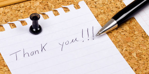 Writing thank you notes can be a good idea.