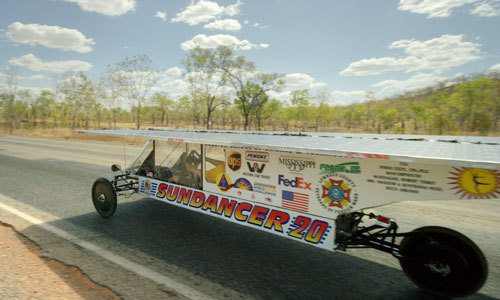 Solar car in race