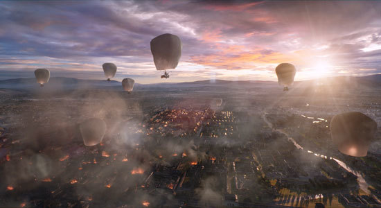 Primitive hot air balloons float over the city